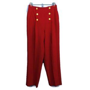 LIZ CLAIBORNE VIntage Wool Sailor Pant Red 8P